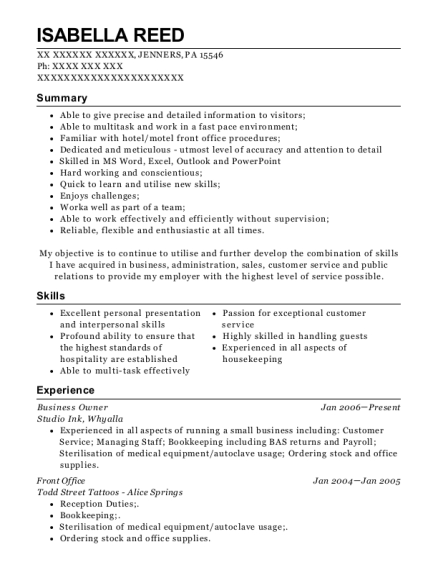 Business Owner resume example Pennsylvania
