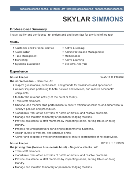house keeper resume sample Pennsylvania