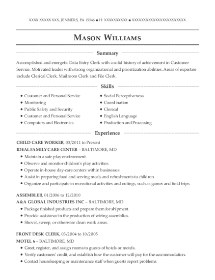 CHILD CARE WORKER resume example Pennsylvania