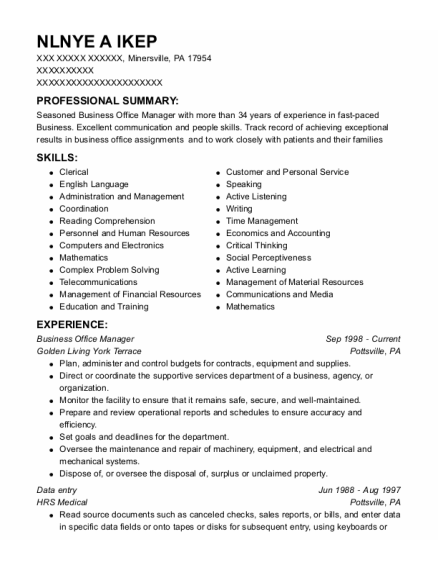Business Office Manager resume sample Pennsylvania