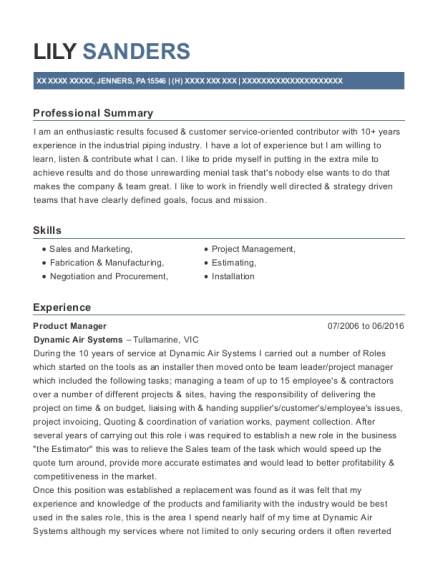 Product Manager resume template Pennsylvania