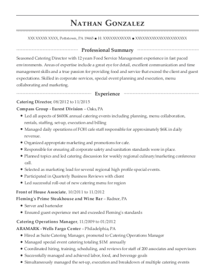 Catering Director resume example Pennsylvania