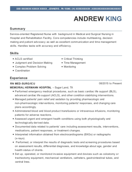 RN MED SURG resume example Pennsylvania