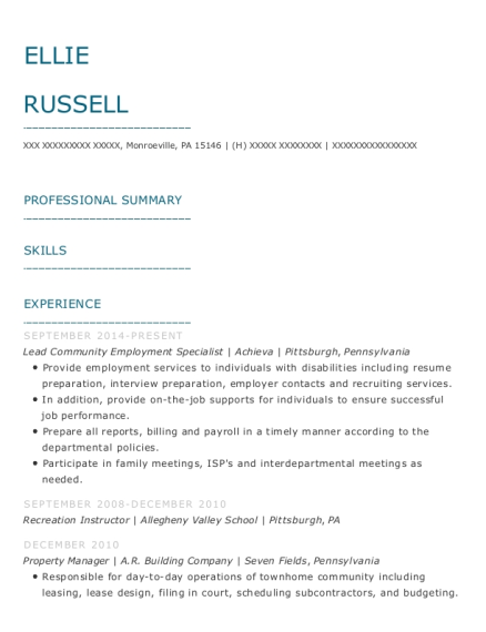 Lead Community Employment Specialist resume sample Pennsylvania