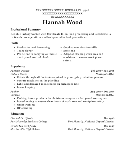 Factory worker resume format Pennsylvania
