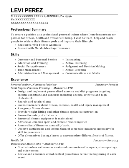 Personal trainer resume sample Pennsylvania