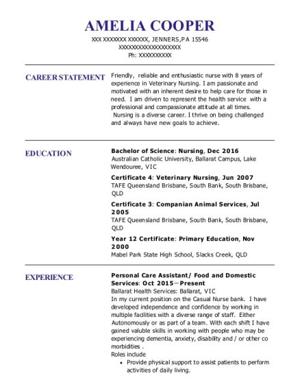 Personal Care Assistant resume format Pennsylvania