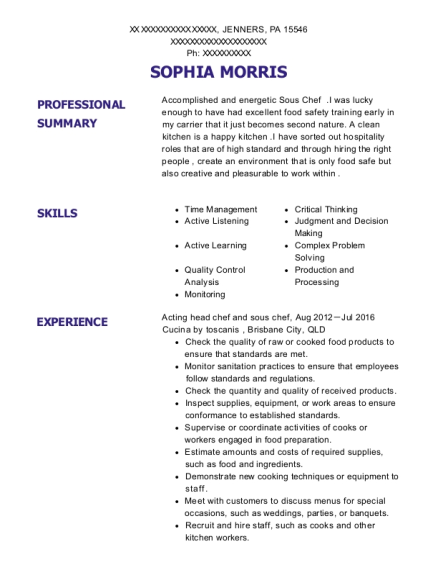 Acting head chef and sous chef resume sample Pennsylvania