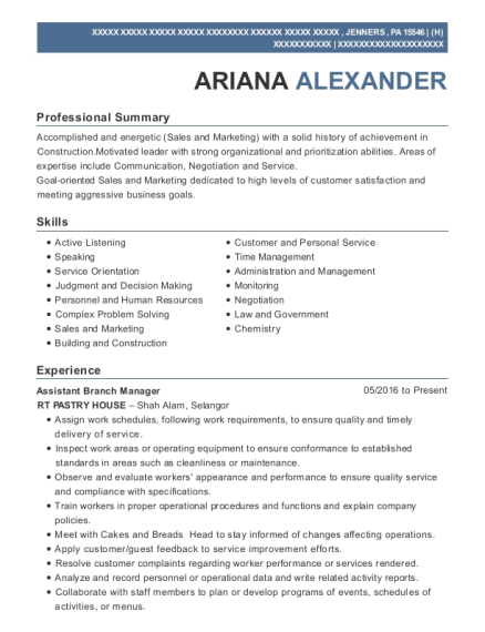 Assistant Branch Manager resume example Pennsylvania