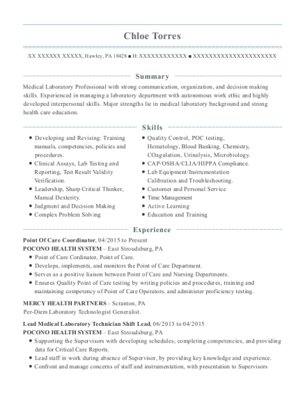 Point Of Care Coordinator resume format Pennsylvania