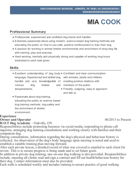 Owner and Operator resume example Pennsylvania
