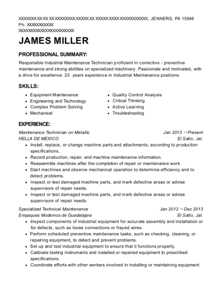 Maintenance Technician on Metallic resume template Pennsylvania
