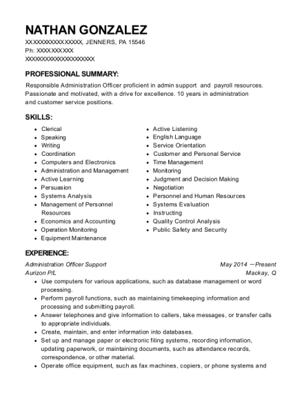 Administration Officer Support resume template Pennsylvania