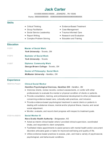 Clinical Social Worker resume template Pennsylvania