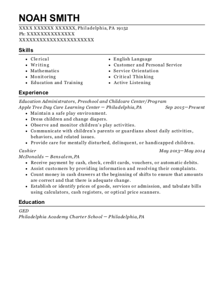 Education Administrators resume template Pennsylvania