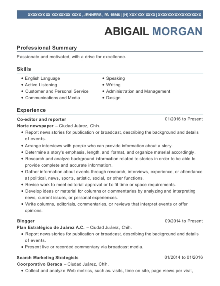 Co editor and reporter resume template Pennsylvania