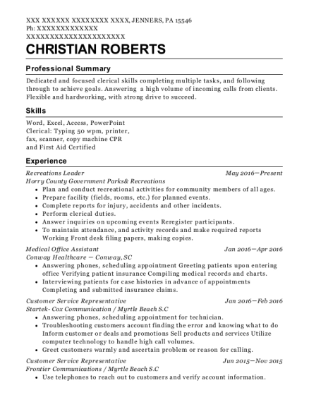 Recreations Leader resume example Pennsylvania