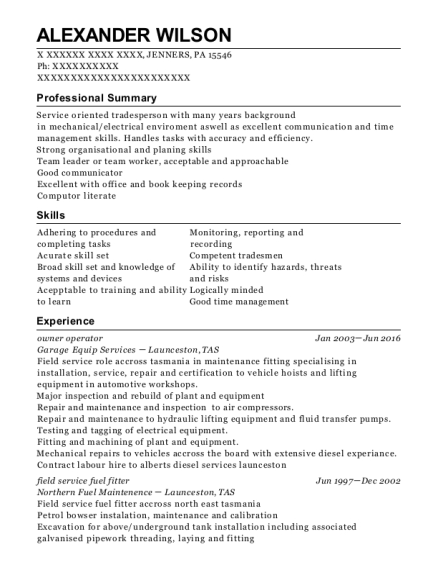 owner operator resume template Pennsylvania