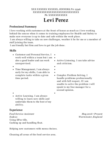 Food Service Assistant resume sample Pennsylvania