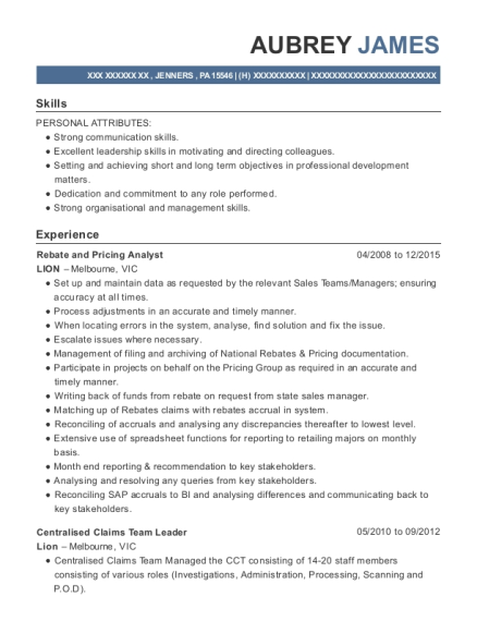 Rebate and Pricing Analyst resume example Pennsylvania