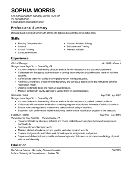 Clinical Manager resume sample Pennsylvania