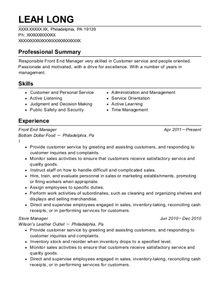 Front End Manager resume template Pennsylvania