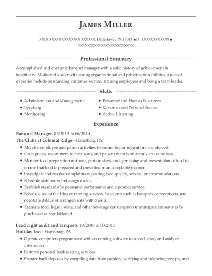 Banquet Manager resume example Pennsylvania