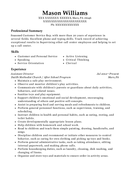 Assistant Director resume template Pennsylvania
