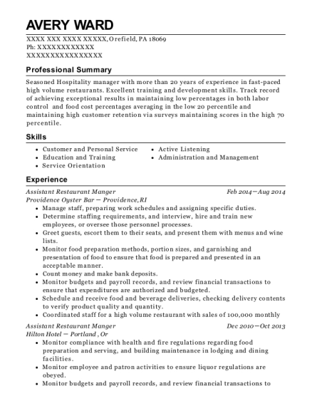 Assistant Restaurant Manger resume template Pennsylvania