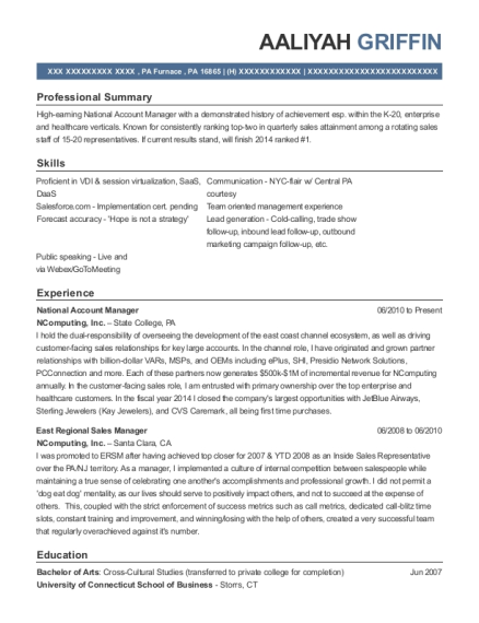 Ncomputing National Account Manager Resume Sample