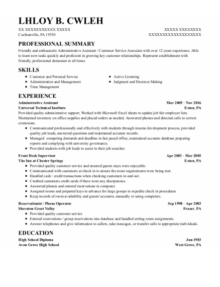 Adminstrative Assistant resume example Pennsylvania