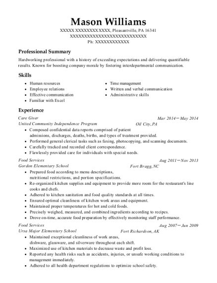 Care Giver resume format Pennsylvania