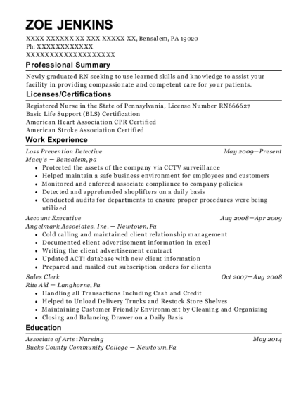 Loss Prevention Detective resume example Pennsylvania