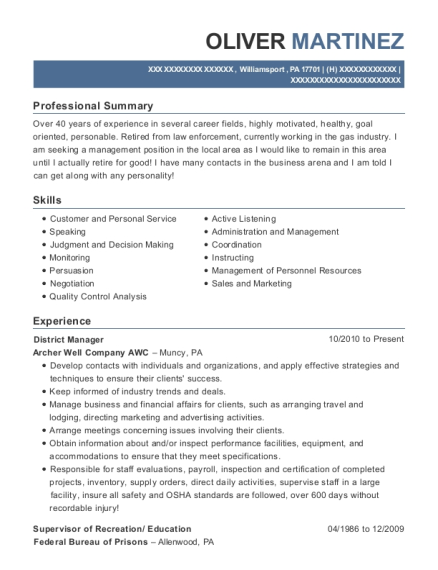 District Manager resume example Pennsylvania