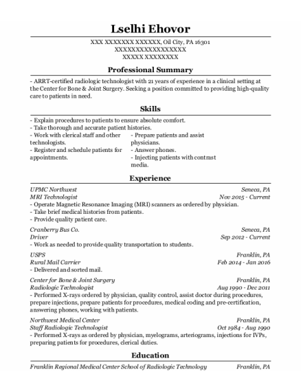 Mri Technologist resume example Pennsylvania