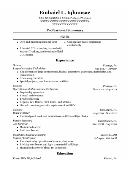 Job Foreman resume format Pennsylvania