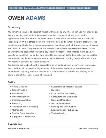 Product Manager resume example Pennsylvania