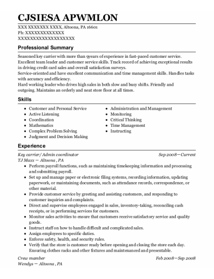 Key Carrier resume format Pennsylvania