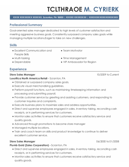 Store Sales Manager resume sample Pennsylvania