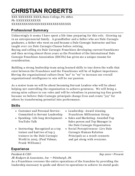 Pesident & CEO resume sample Pennsylvania