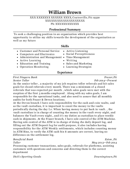 Senior Teller resume template Pennsylvania
