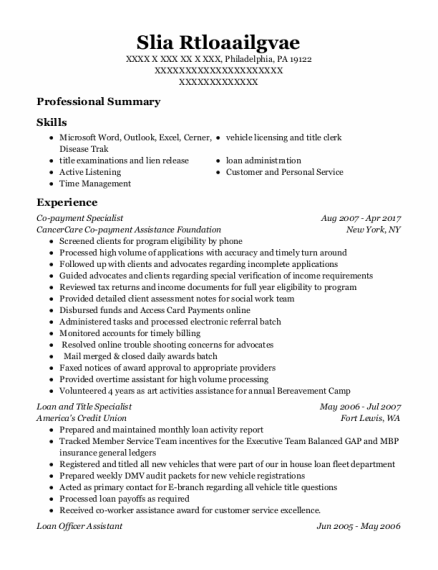 Loan Officer Assistant resume example Pennsylvania