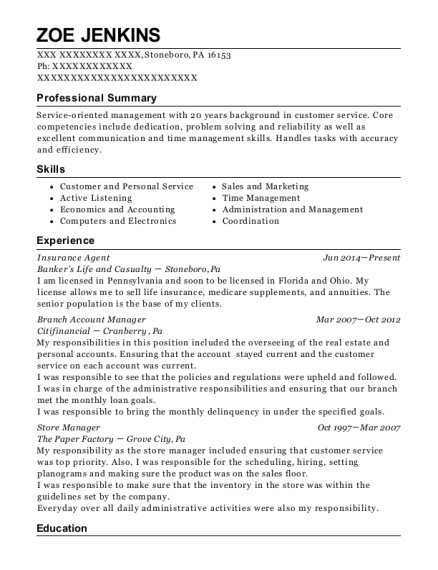 Insurance Agent resume example Pennsylvania