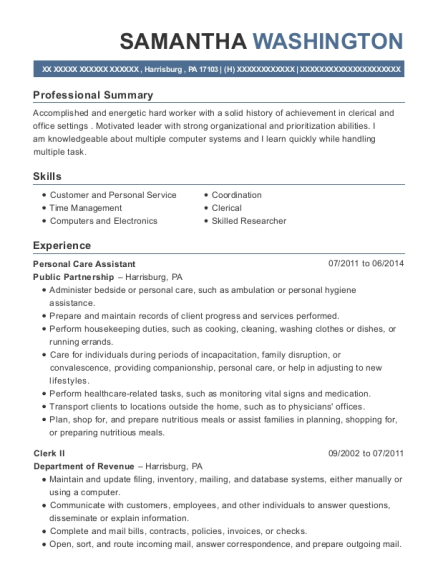 Personal Care Assistant resume example Pennsylvania
