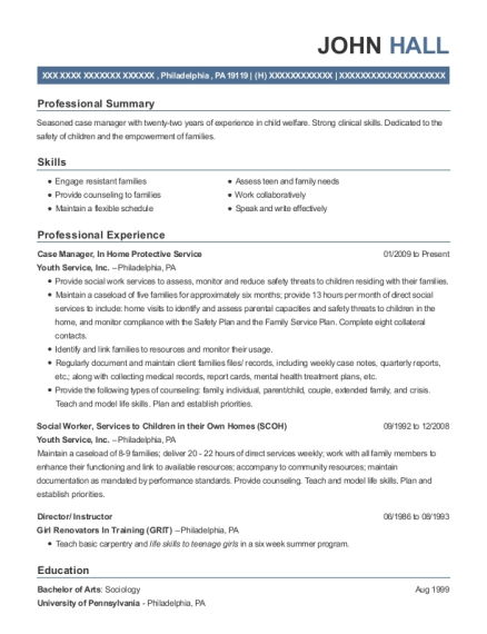 Case Manager resume template Pennsylvania