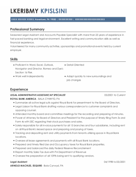 Legal Administrative Assistant resume example Pennsylvania