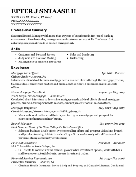Mortgage Loan Officer resume template Pennsylvania