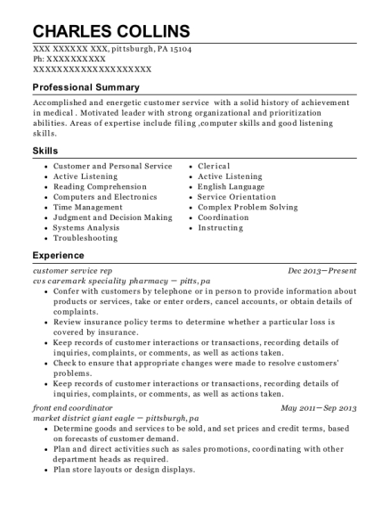 customer service rep resume sample Pennsylvania