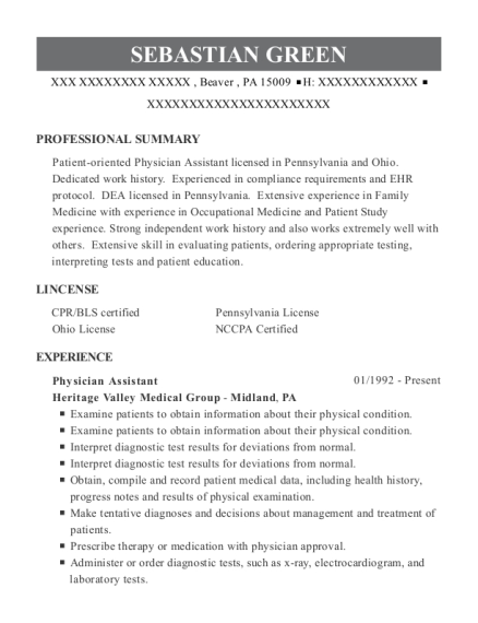 Physician Assistant resume sample Pennsylvania