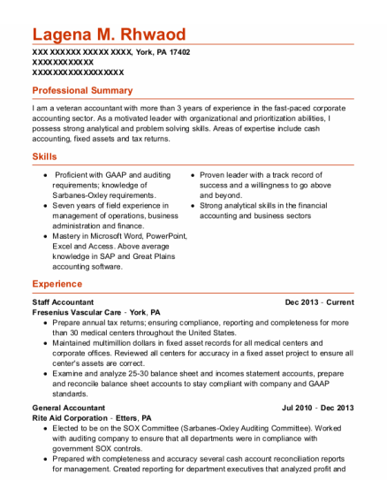Staff Accountant resume example Pennsylvania